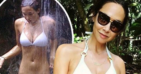 Myleene Klass strips down to bikini to recreate I'm A Celebrity waterfall shower scene