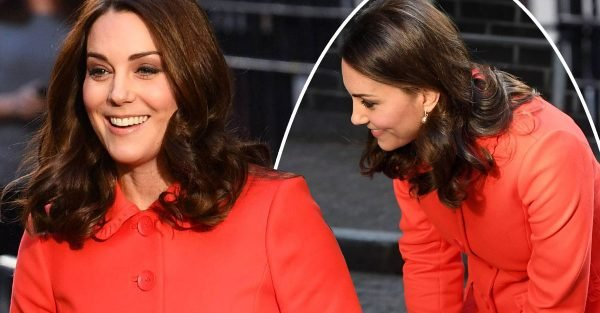 Pregnant Kate Middleton looks totally different in nude outfit and orange coat