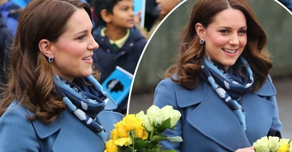 Pregnant Kate Middleton is a vision in blue as adds unusual accessory to her outfit