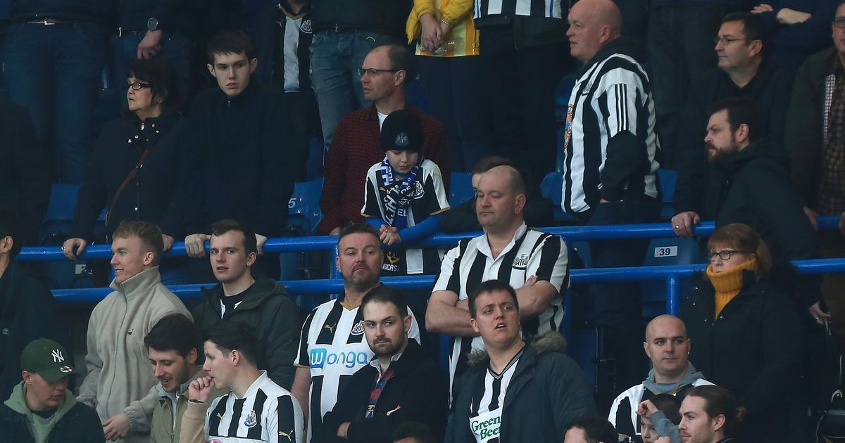 Newcastle fan slides down handrail during team's FA Cup clash away at Chelsea