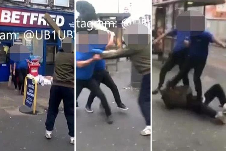 Man charges at Betfred betting shop with massive plank of wood before being attacked by duo wielding cricket bat and kicked on the floor