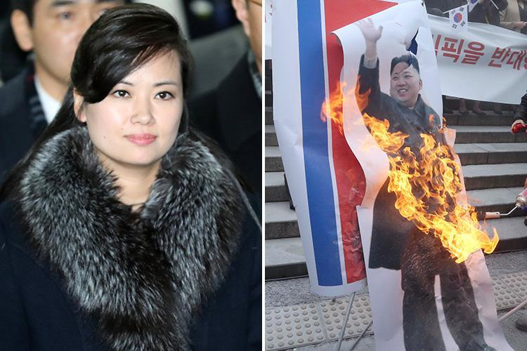 Kim Jong-un's pop star ex girlfriend arrives in South Korea ahead of the Winter Olympics…as locals burn posters of North Korea's chubby tyrant