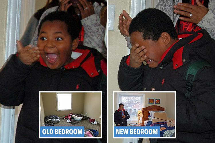 Heartwarming moment boy, 8, who was raised in homeless shelters bursts into tears when he is given his very first bed