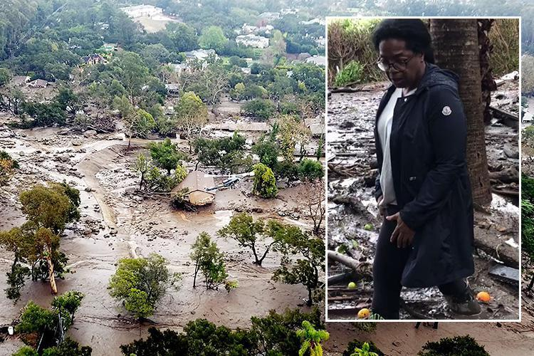 California mudslide leaves 17 people dead and 300 trapped as Oprah Winfrey wades through her swamped $50m estate