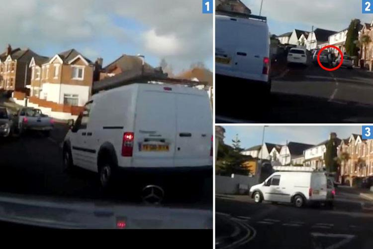 Bizarre moment van chases truck along street before both drivers hurl objects – and then ram into each other