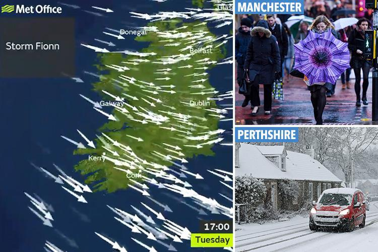 Storm Fionn to bring 80mph gales and flash floods after -7C icy blast sees snow hit overnight