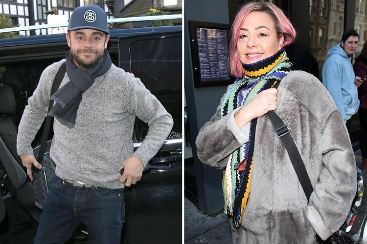 Ant McPartlin and Lisa Armstrong arrive just five minutes apart for work at Britain's Got Talent auditions as she shows off new pink hairdo