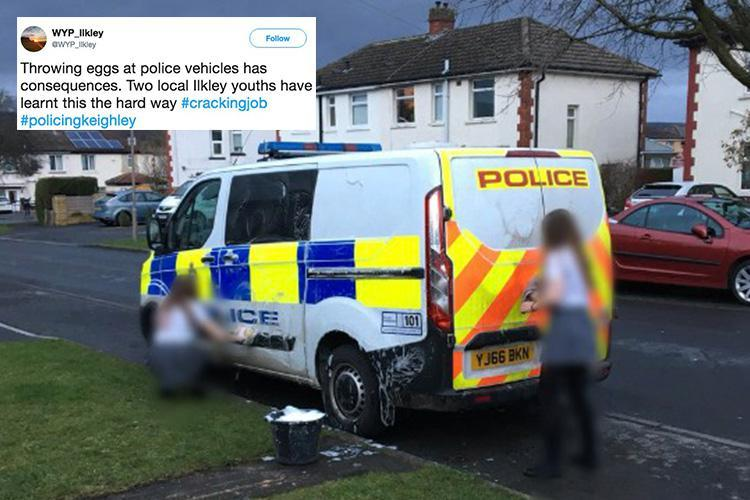 Schoolgirls forced to clean police van as punishment after being caught hurling eggs at it