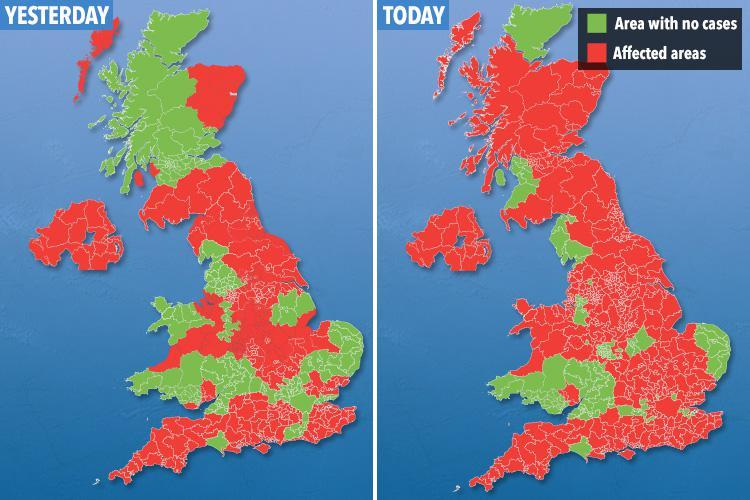 Map reveals 'Aussie flu' has spread to FIVE more UK towns and cities in the past 24 hours