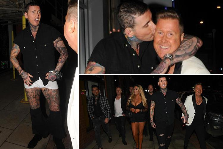 Jeremy McConnell strips to his underwear as he reveals his shocking head tattoo on a night out