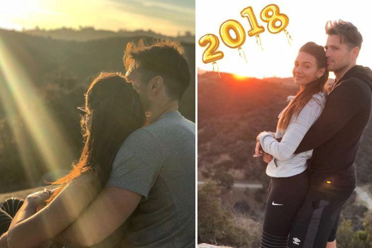 Mark Wright cuddles wife Michelle as they watch the last sunset of 2017 together in romantic New Year's Eve snap