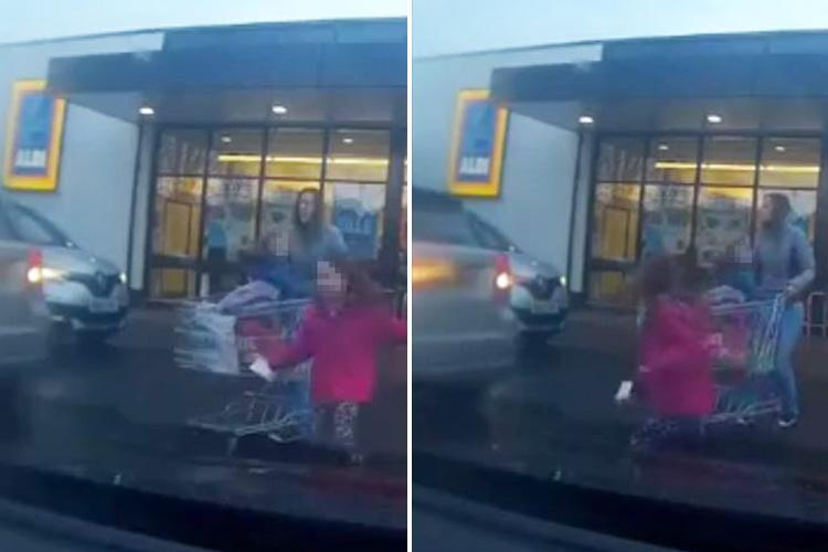 Moment little girl is almost hit by reversing car in Aldi car park before mum launches furious tirade at driver