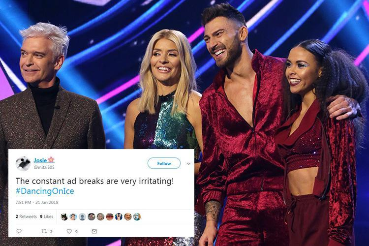Dancing on Ice viewers furious after 'endless' ad breaks add an extra 25 minutes to the running time