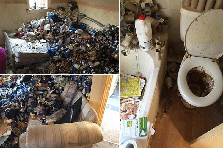 Horror pics show filthy flat buried in mountain of empty beer cans, porn and cigarettes as disgusted landlord reveals it cost £10k to clean