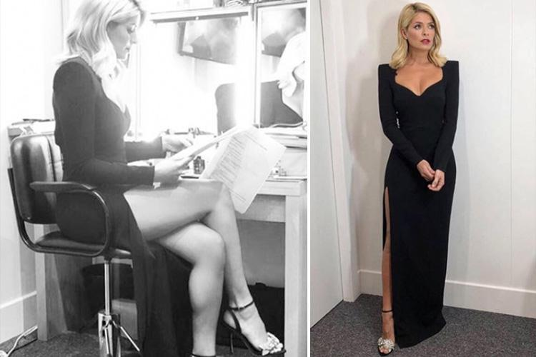 Holly Willoughby oozes glamour in sexy black £1,400 gown with thigh high split as she presents second Dancing On Ice of the series