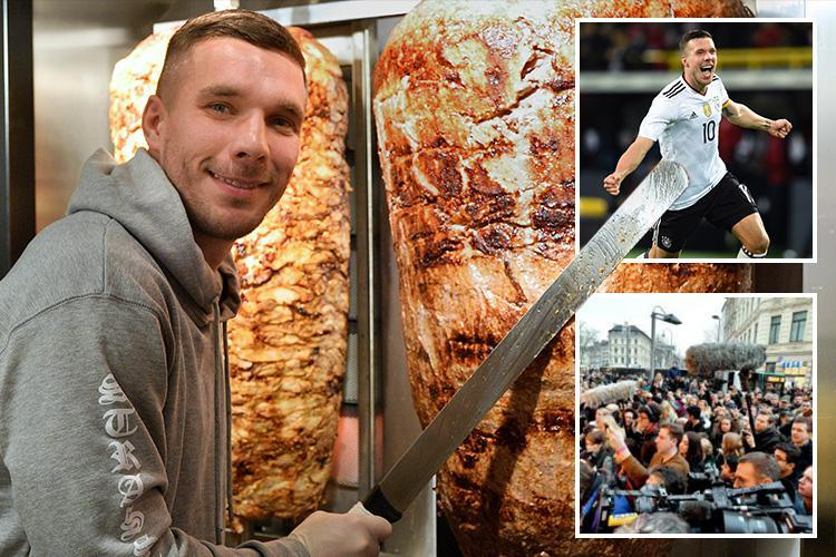 Ex-Arsenal star Lukas Podolski opens his own kebab shop and fans queue for FIVE HOURS to get a bite
