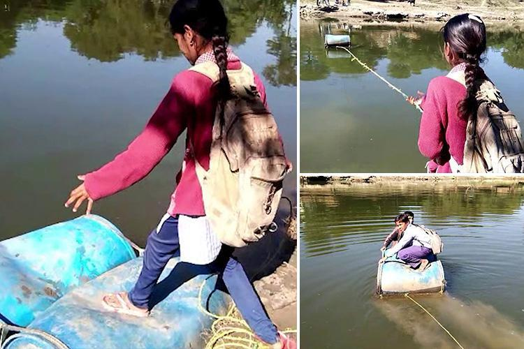 In absence of a bridge, hundreds of people including school children in an Indian village have to cross a river using a boat made of plastic drums