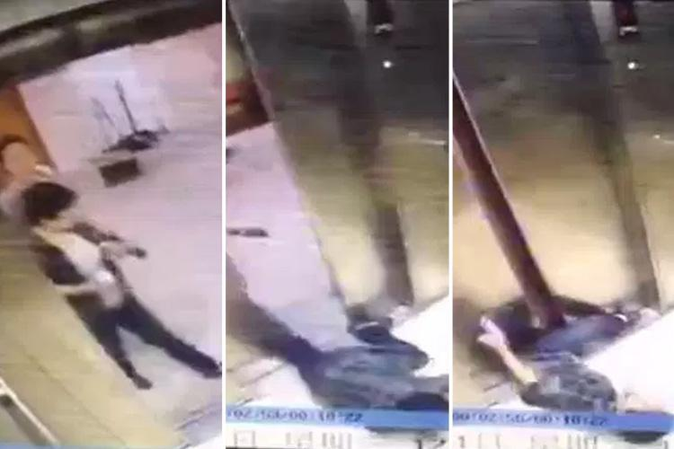 Horrific moment woman's leg is cut off by faulty lift after she gets trapped by doors 'while looking at her phone'