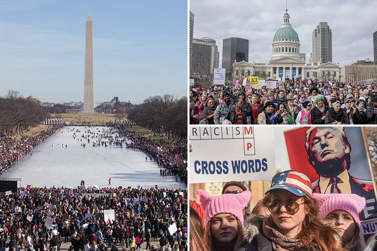 Women's March sees tens of thousands of anti-Trump protesters take to the streets calling for US president to be axed on one-year anniversary