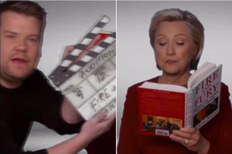 Hillary Clinton makes surprise Grammys 2018 cameo as she joins John Legend, Snoop Dogg and Cher to read from Fire and Fury in hilarious James Corden skit