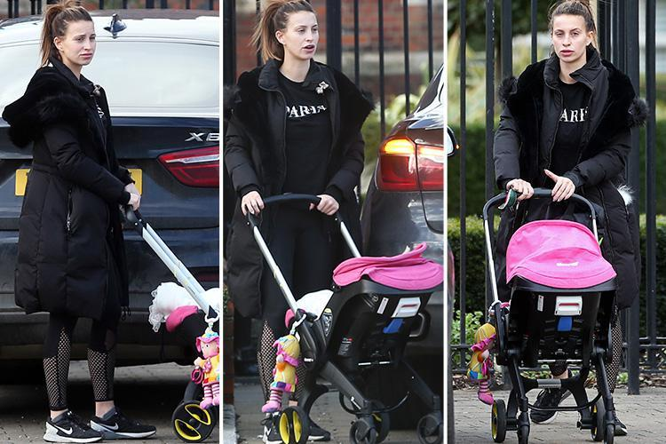 Ferne McCann looks frazzled as she arrives home with baby Sunday after a busy day running errands