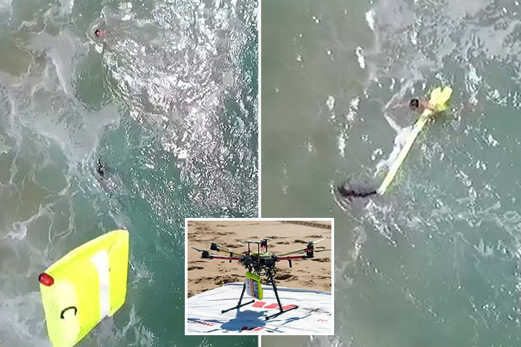 Two teens are saved from 10ft waves by a DRONE in a world-first operation