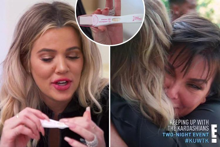 Khloe Kardashian shows off her positive pregnancy test as she tells her family she's expecting her first child in emotional moment on Keeping Up With The Kardashians