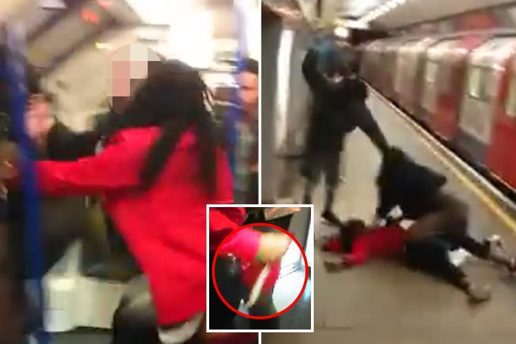 Shocking moment Tube passenger wields huge knife in brawl before getting head kicked in on platform