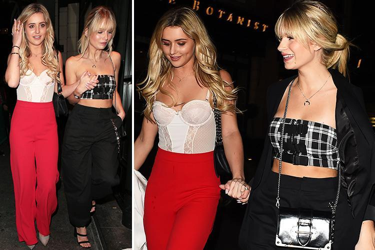 Love Island's Tina Stinnes looks incredible in a corset as she parties with Lottie Moss