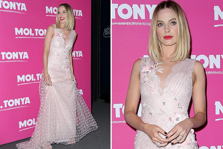 Margot Robbie stuns in a pastel pink dress at the Paris premiere of her new movie I, Tonya