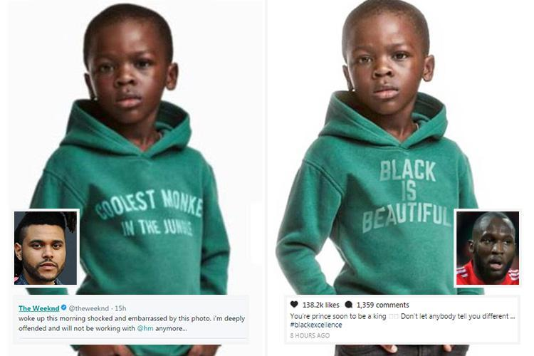 H&M 'racist' hoodie row sees Man Utd star Romelu Lukaku and rapper The Weeknd sever ties with fashion giant over pic of a black kid wearing 'coolest monkey' top