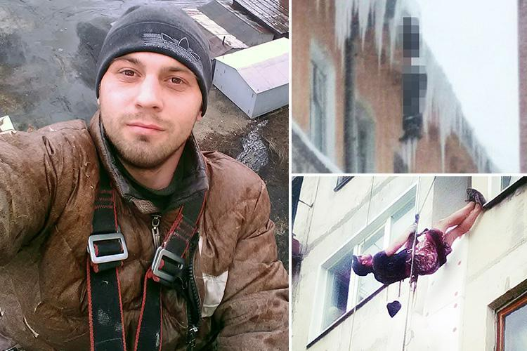 Mystery as climber is found dead dangling from the roof of a Russian student dormitory 40 ft above the ground icicles hanging from his feet in -27C