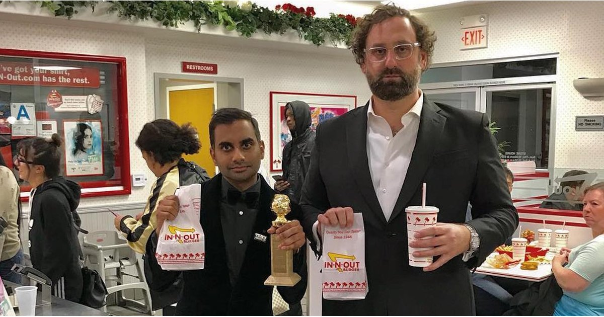 Aziz Ansari Celebrated His Golden Globes Win With — What Else? — In-N-Out Burger