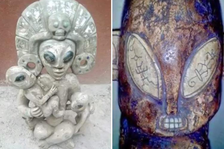 Spooky ancient sculptures of 'aliens and spaceships' in Mexican cave spark claims extraterrestrials have lived on Earth