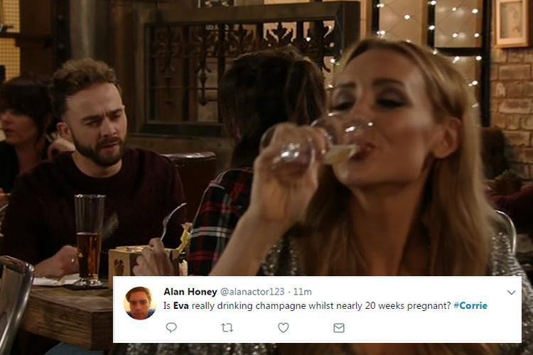 Coronation Street fans outraged as pregnant Eva Price downs booze