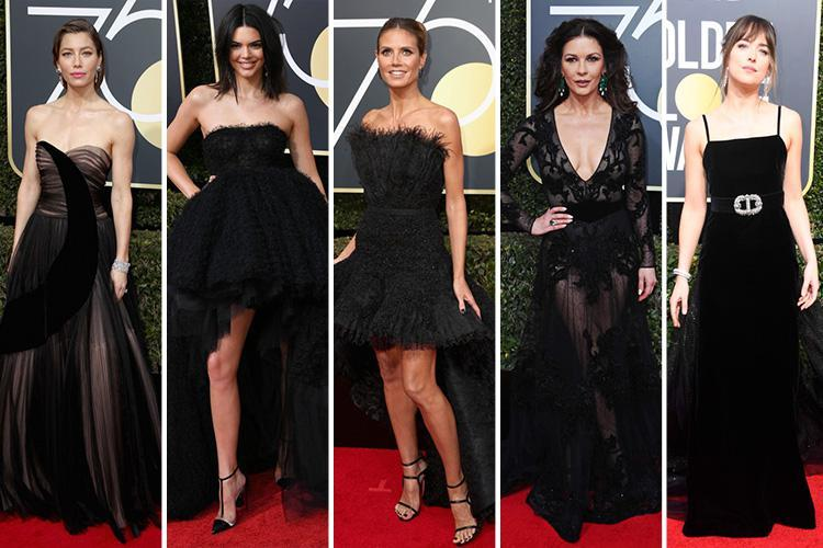Kendall Jenner, Catherine Zeta Jones and Claire Foy turn heads in all-black gowns as they lead the glamorous arrivals at the 75th Golden Globe Awards