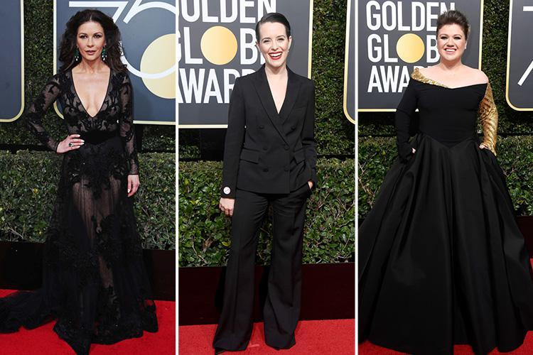 Catherine Zeta Jones and Claire Foy turn heads in all-black gowns as they lead the glamorous arrivals at the 75th Golden Globe Awards
