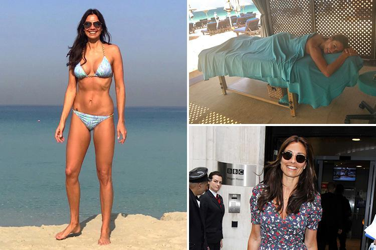 Melanie Sykes, 47, pictured with her shades on and little else as she shows off her toned body on Dubai beach
