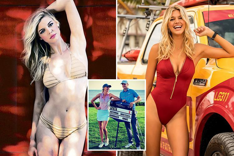 Kelly Rohrbach gets into the swing of things in nude swimsuit