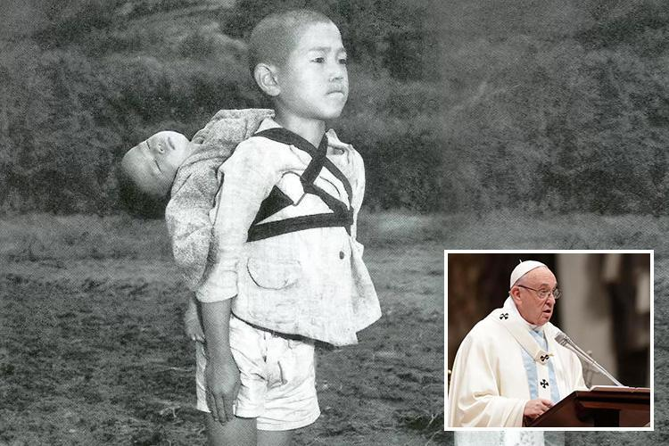 Pope Francis prints pictures of Nagasaki atomic bomb victims in grim but powerful New Year's message over 'fruits of war'