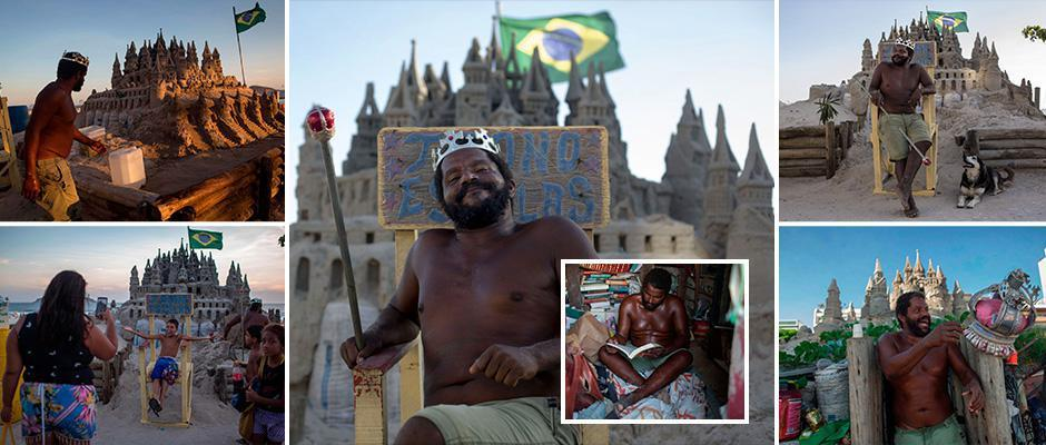 Man reveals he's lived inside a sand castle on Brazil beach for 22 years and hasn't a paid a penny in rent