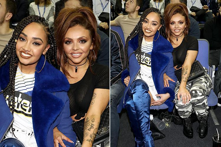 Jesy Nelson cuddles up to Little Mix bandmate Leigh-Ann Pinnock at NBA game in London