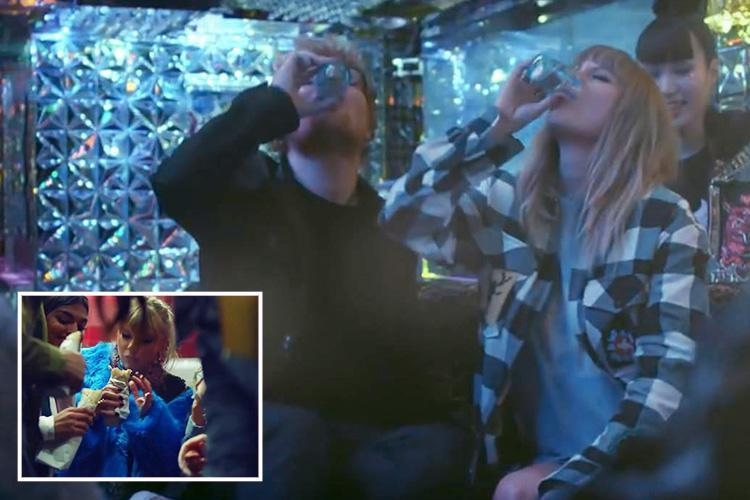 Taylor Swift downs drinks and eats a kebab in London with Ed Sheeran in epic new End Game video