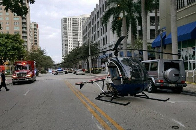 Helicopter makes hard landing on downtown Ft. Lauderdale street
