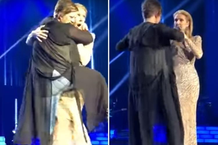 Celine Dion keeps her calm as a female fan 'humps her' onstage during concert in Las Vegas