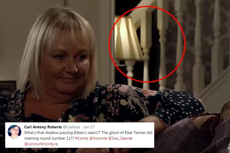 Coronation Street viewers spot a ghostly shadow lurking behind Eileen Grimshaw as she talks to murderer Pat Phelan – but did you spot it too?