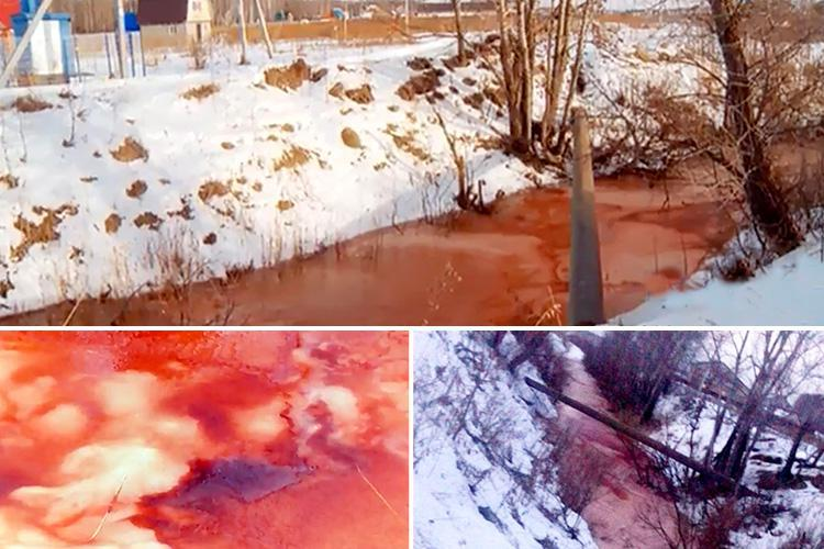 'Blood river' mystifies Russia as water turns a sinister shade of crimson and experts say they can't work out what's causing it
