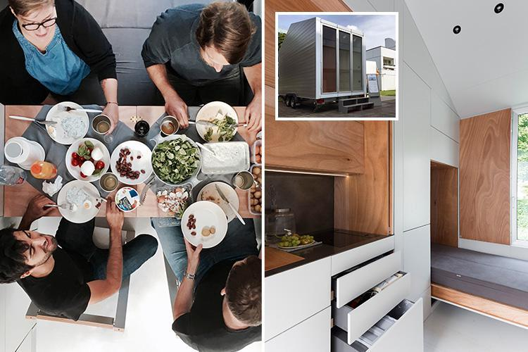 Inside the £35k single-room house which crams a fold-out kitchen, bathroom and bedroom into just 90 square feet