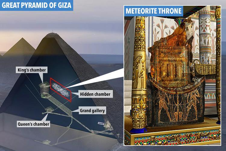 Egypt's Great Pyramid houses a secret 'alien' throne carved from an ancient solid metal meteorite, professor claims
