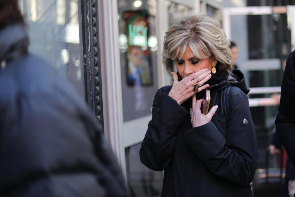 Jane Fonda admits she's had a cancerous growth removed from her lip as she steps out with bandage